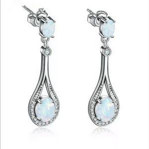 Silver Teardrop Opal Earrings With Rhinestones